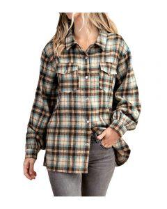 Kori America Plaid Jacket Plus Teal Blue Mix