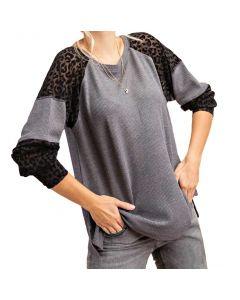 Kori America Thermal So Obsessed T-Shirt Grey Black