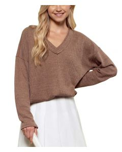 Blu Pepper Ribbed Sweater Cocoa