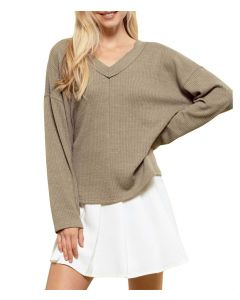 Blu Pepper Ribbed Sweater Light Olive