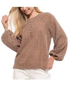Blu Pepper Clip Dot Sweater Cocoa