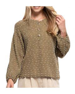 Blu Pepper Clip Dot Sweater Olive