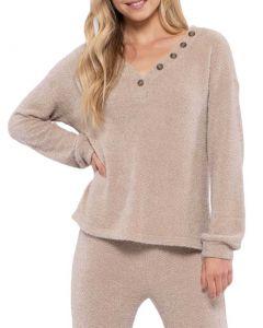 Blu Pepper Henley Detailed Knit Sweater Khaki