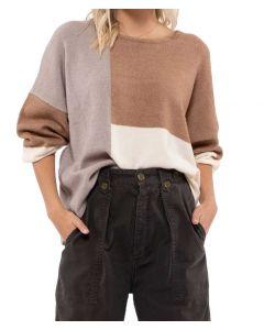 Blu Pepper Block Sweater Khaki Multi
