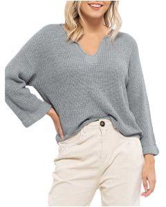 Blu Pepper Split Neck Sweater Dusty Blue