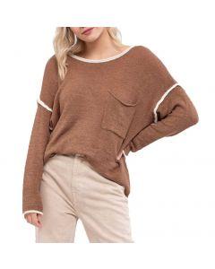 Blu Pepper Pocket Sweater Almond