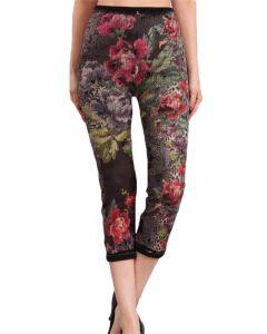 M Rena Women's Denim Cropped Leggings Black Pink Flowers