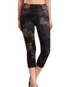 M Rena Women's Denim Cropped Leggings Black Tan Flowers