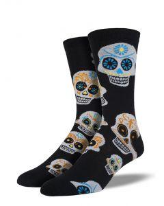 Socksmith Men's Big Muertos Skull Black White
