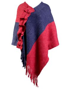 Bohemian Cowgirl Women's Fringe Poncho Red
