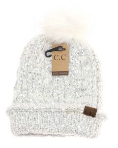 C.C. Exclusives Popcorn Knit Pom Beanie Ivory