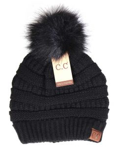 C.C. Exclusives Pom Pom Beanie Black
