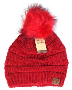 C.C. Exclusives Pom Pom Beanie red