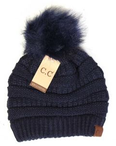 C.C. Exclusives Pom Pom Beanie Navy