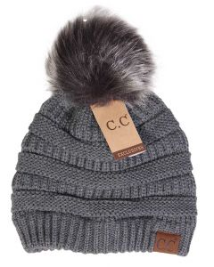 C.C. Exclusives Pom Pom Beanie Grey