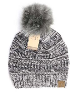 C.C. Exclusives Four Tone Fur Pom Beanie Grey