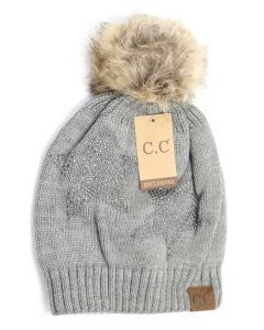 C.C. Exclusives Star Pom Beanie Grey