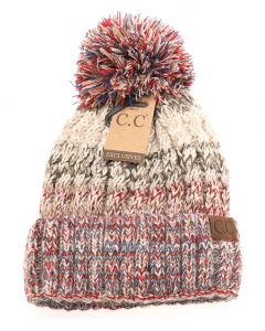 C.C. Exclusives Tri-Color Pom Beanie Beige