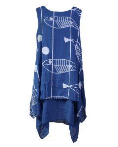 India Boutique Stripe 2 Layer Dress Royal
