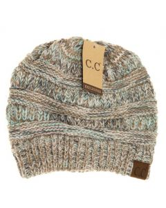 C.C. Exclusives Diagonal Stitch Beanie Taupe Multi