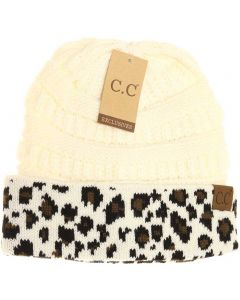 C.C. Exclusives Leopard Hat Ivory