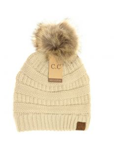 C.C. Exclusives Pom Classic Hat Beige