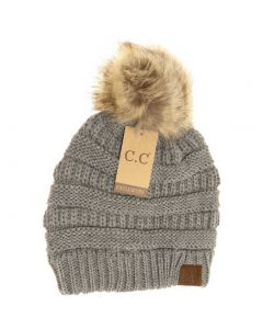C.C. Exclusives Pom Classic Hat Light Grey