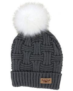 Britt's Knits Women's Pom Hat Grey