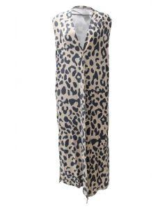 Very Moda Women's Long Vest Leopard Khaki