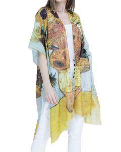 Very Moda Women's Museum Print Kimono Sunflower