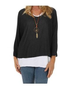 Catherine Lillywhite Layered Necklace Top Black