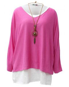 Catherine Lillywhite Layered Necklace Top Hot Pink