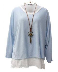 Catherine Lillywhite Layered Necklace Top Light Blue