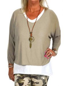 Catherine Lillywhite Layered Necklace Top Khaki