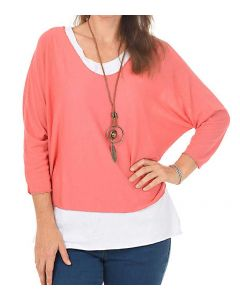 Catherine Lillywhite Layered Necklace Top Coral