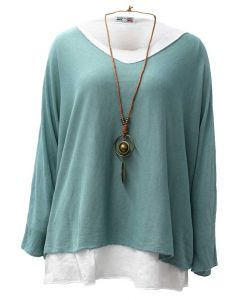 Catherine Lillywhite Layered Necklace Top Sage