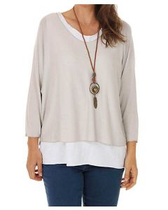 Catherine Lillywhite Layered Necklace Top Beige