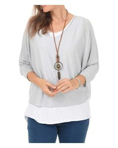 Catherine Lillywhite Layered Necklace Top Light Grey
