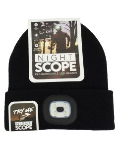 Night Scout Men's Rechargeable LED Beanie Black