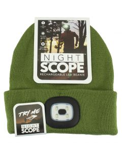 Night Scout Men's Rechargeable LED Beanie Olive
