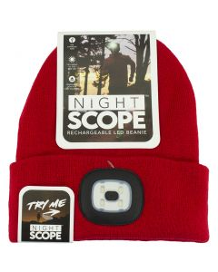 Night Scout Men's Rechargeable LED Beanie Red