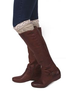 Queen Designs Women's Cable Knit Boot Cuff Taupe