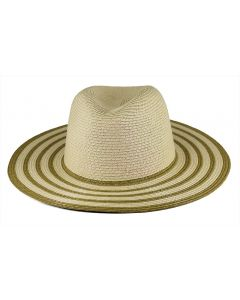 Magid Women's Striped Brim Hat Natural Toast