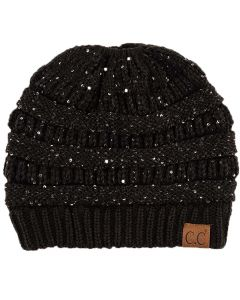 C.C. Exclusives Women's Sequin Hat Black Silver