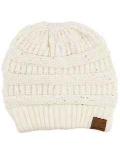 C.C. Exclusives Women's Sequin Hat Ivory Silver