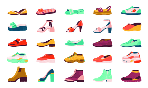 Shoe styles and parts of shoes